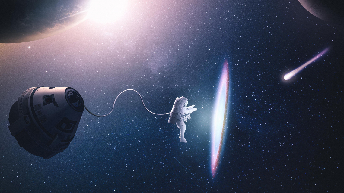 Astronaut creating parralel space 4k n1