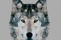 Low polygonal wolf