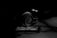 Headphones, black, and, white