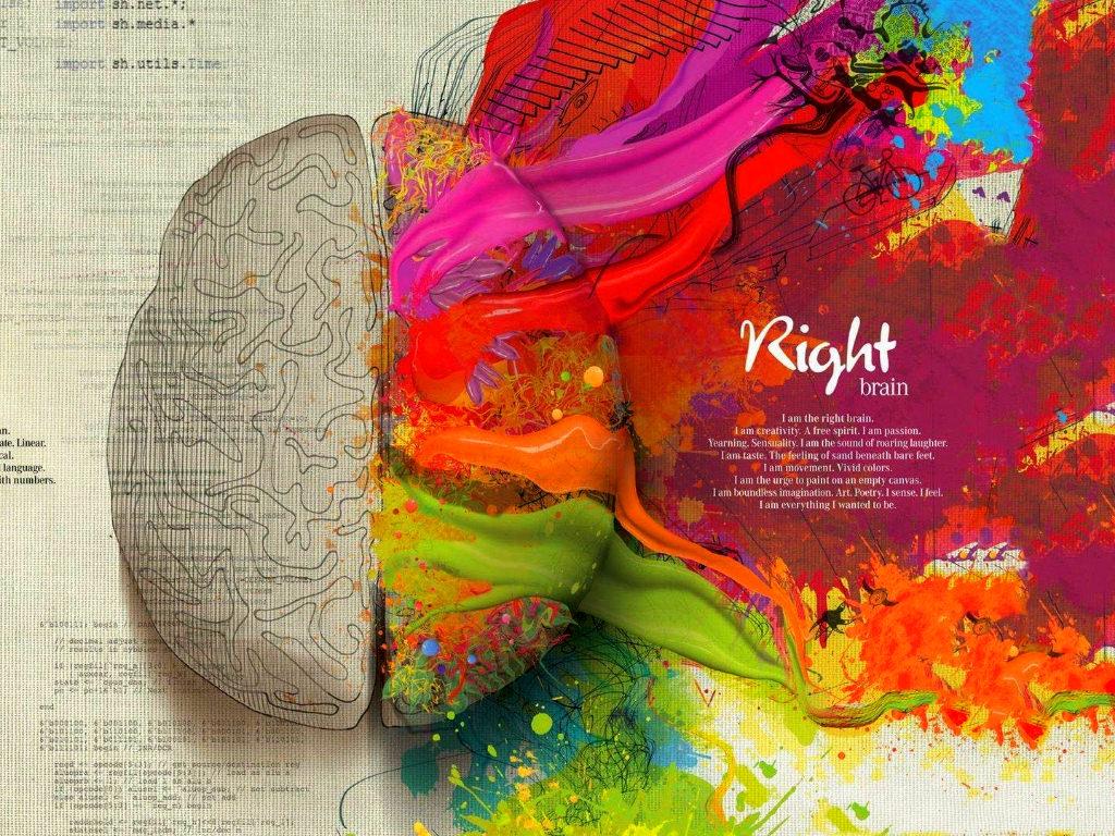 Multicolored brain illustration, Human Brain painting, abstract