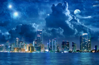 9k Wide Blue City With Blue Sea and Also Blue Weather Wallpaper