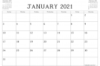 January 2021 calendar print screen