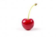 Single red cherry fruit