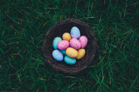 Chocolate easter eggs nest