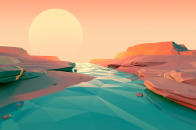 Low poly river landscape design