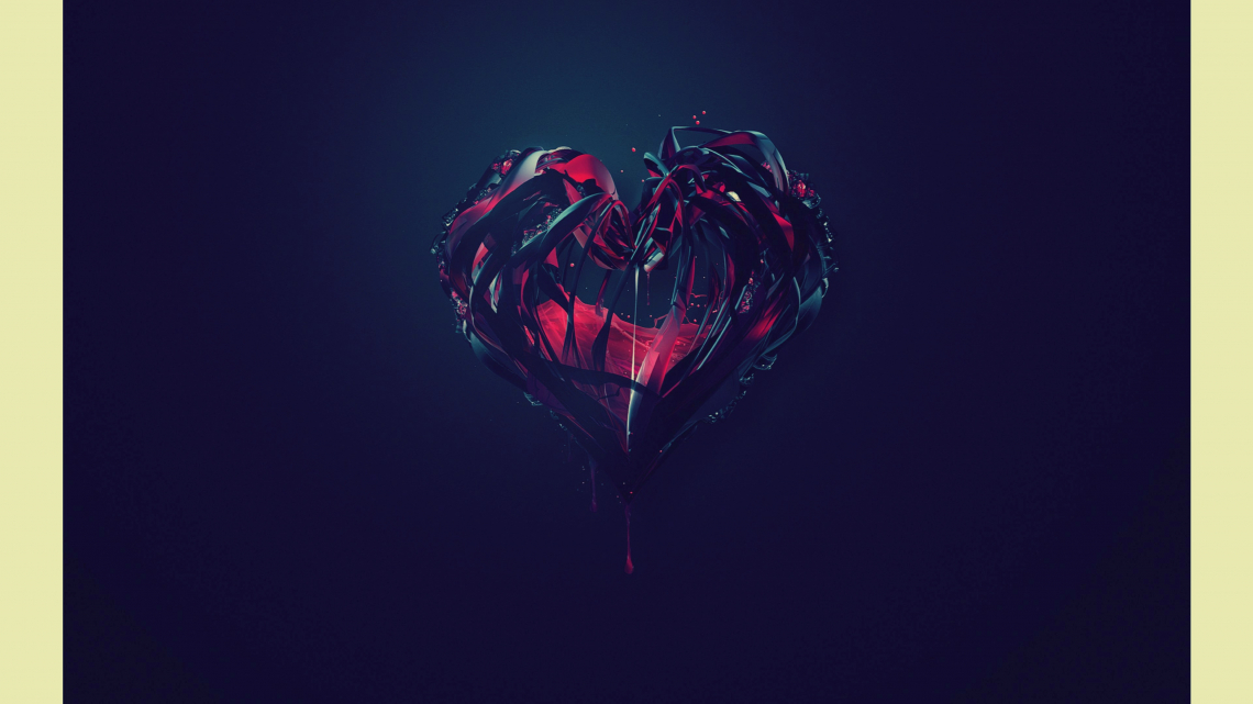 Red and black heart, abstract desktop background