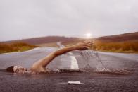 Swimming iin road