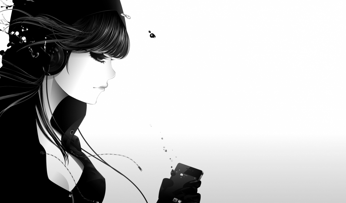 Girl listening to music bw