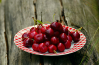 Cherries on a plate outdoor