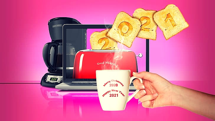2021 toast toaster coffee happy new year