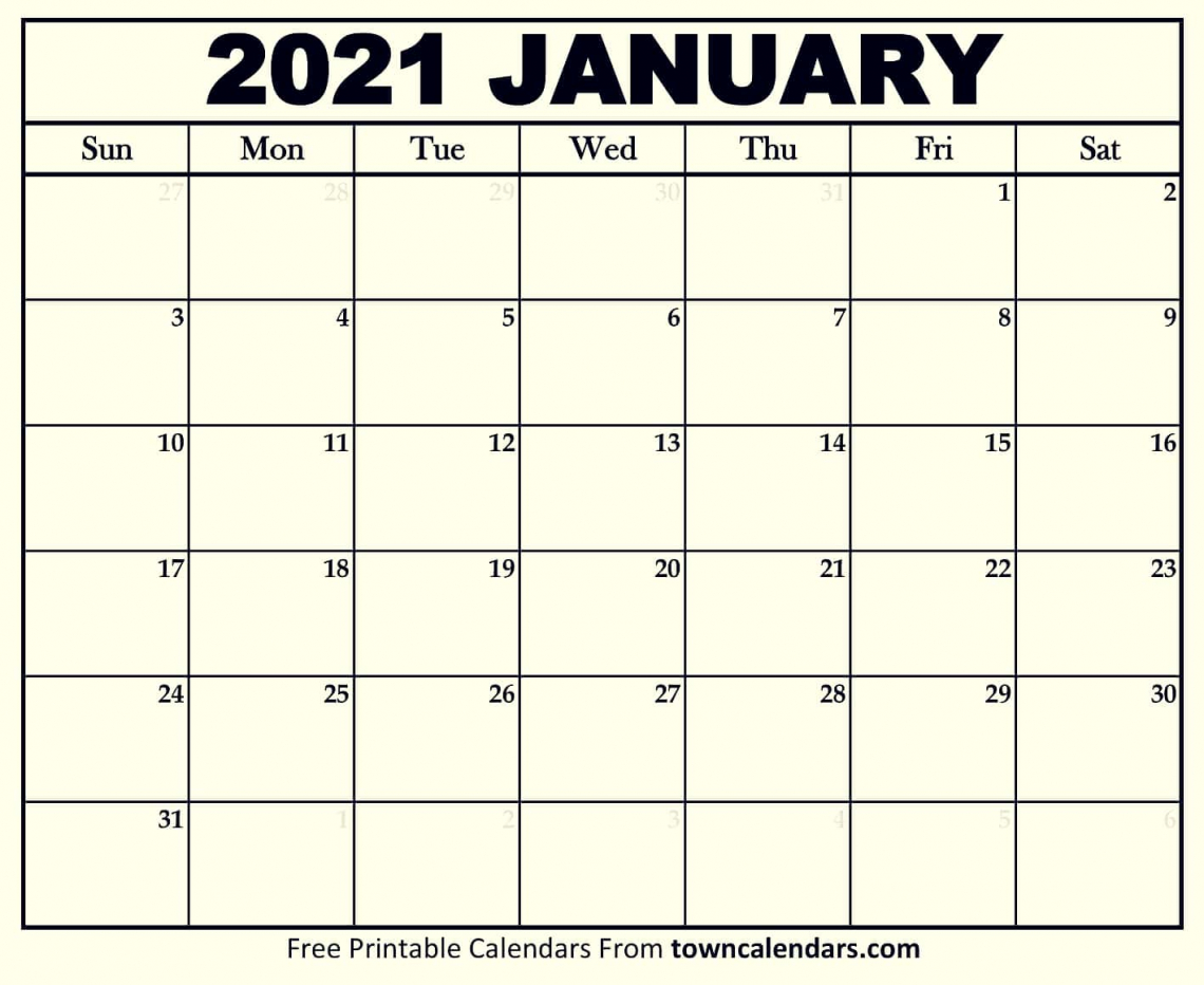 Printable blank calendar January 2021