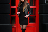 Girl photo with black dress and glasses