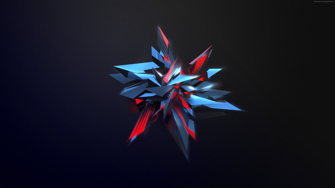 3D abstract shapes glass 4k