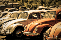 Old volkswagen beetle junkyard