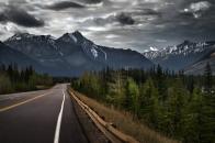 4k Jasper Alberta Canada Canadian Rockies mountain road forest trees