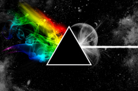 Music pink floyd, triangle, space, planet, colors