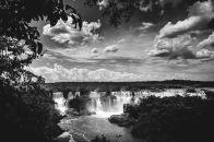Iguazu, falls, black, and, white