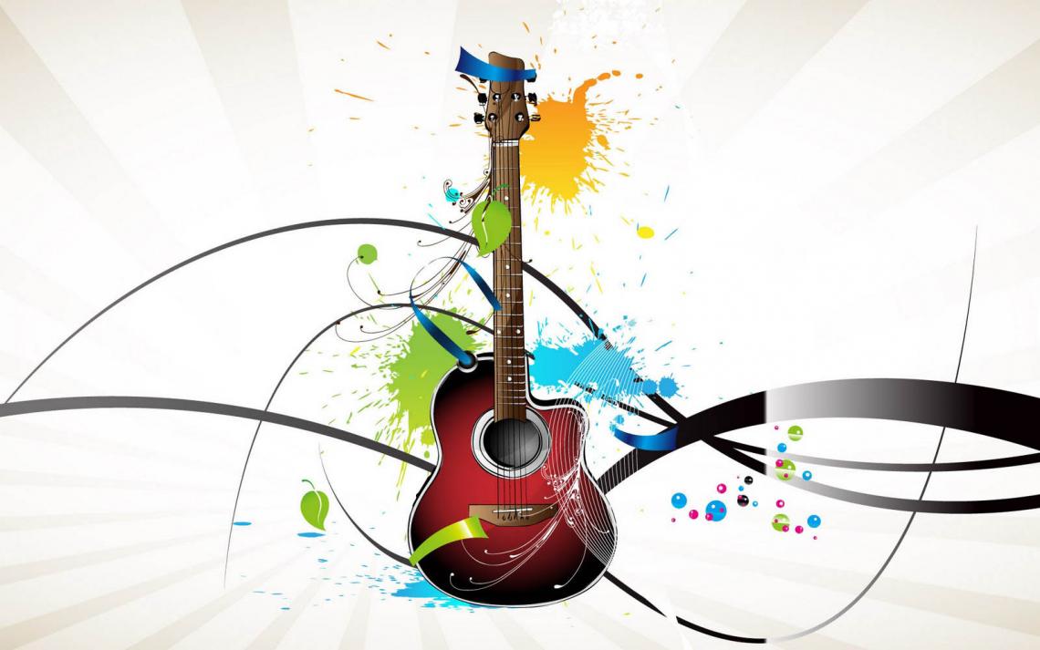 4k Colorful Guitar Wallpaper