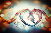 Abstract water heart sparkle bubbles waves liquid valentines holidays love romance
