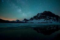 Reflection Nature Water Landscape Mountain Winter Stars Sky Night