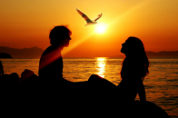 Romantic, couple, sunset