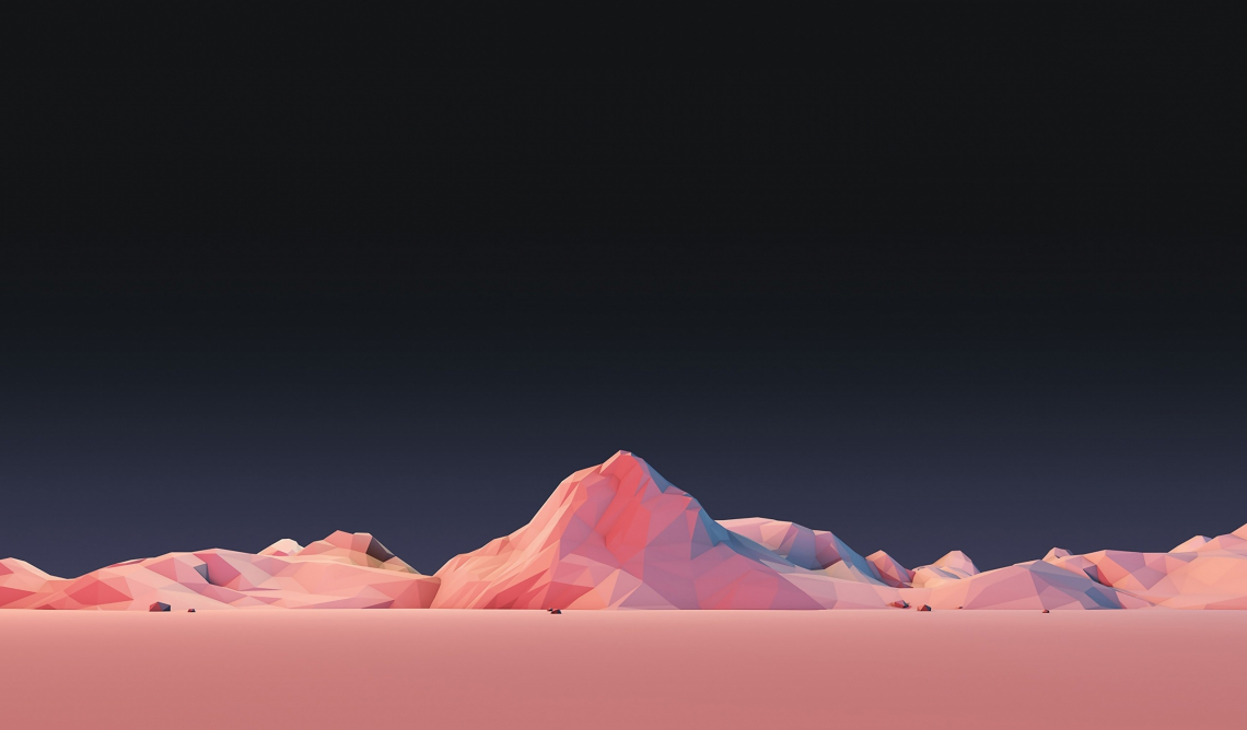 Low poly simple mountain landscape