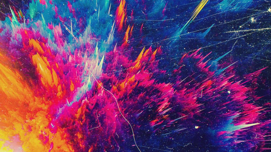 Color splash mountains, abstract 4k, desktop background
