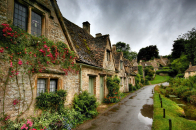 Village Town Houses Roofs Streets Roads Greenery Flowers Nature