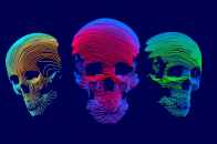 Abstract 3D Colorful Skull 8k