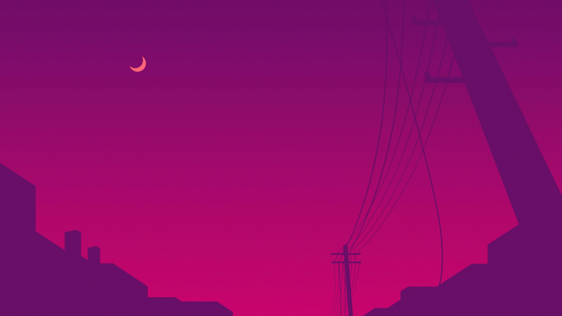 Power line moon, minimalist 4k