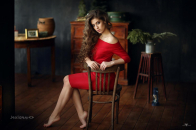 Girl With Red Dress 8k Wallpaper