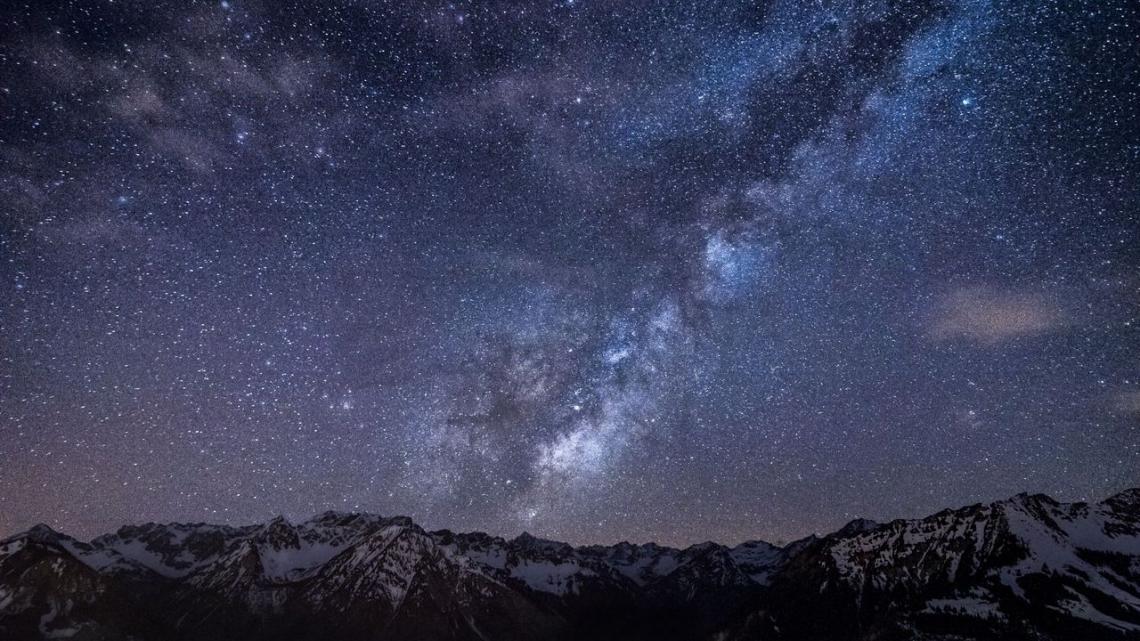 Mountains night, sky stars