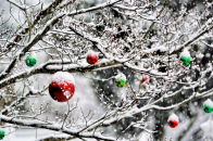 Christmas, ornaments, in, the, snow