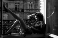 Woman, sitting, near, the, window
