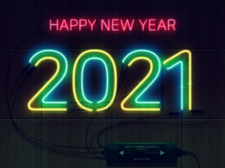 Neon sign 2021 happy new year new year wood texture