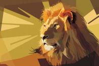 Lion, art, vector, lines, stripes