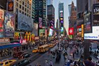 New york usa city neon lights traffic crowd people
