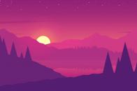 Purple mountains, minimalist 4k