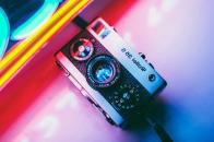 Old camera, neon, retro, light, colorful