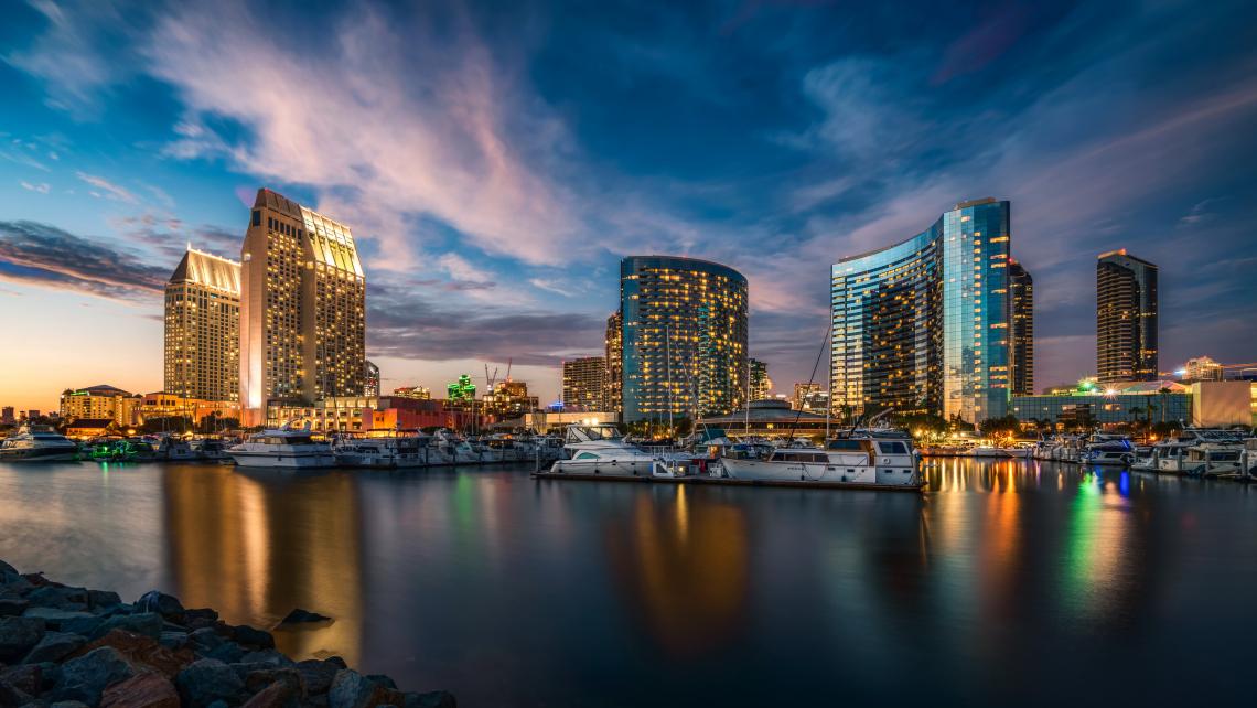 USA Scenery Skyscrapers Sky Marinas Yacht San Diego Night City
