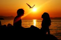 Romantic, couple, sunset