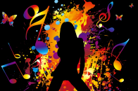 Colorful Music Light and Black Background With Black Girl