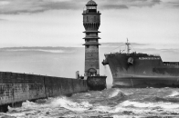 Dunkirk, lighthouse, black, and, white