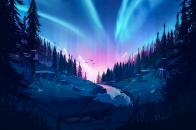 Auroral forest 4k illustration h0