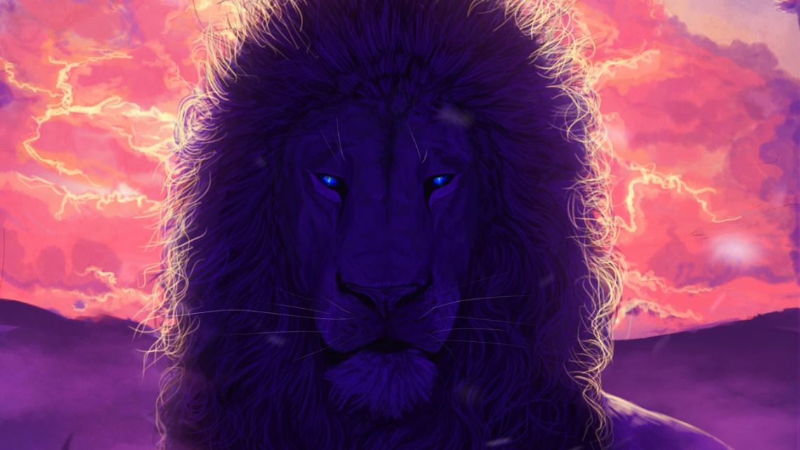 Lion, king of beasts, art, muzzle, mane, glance