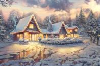 Christmas, lodge, by, thomas
