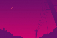 Power line moon, minimalist 4k
