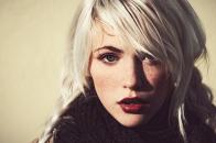Girl white hair and dark eyebrows