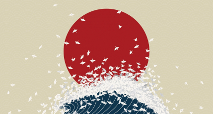 Minimalism, origami, japan, rising sun, wave