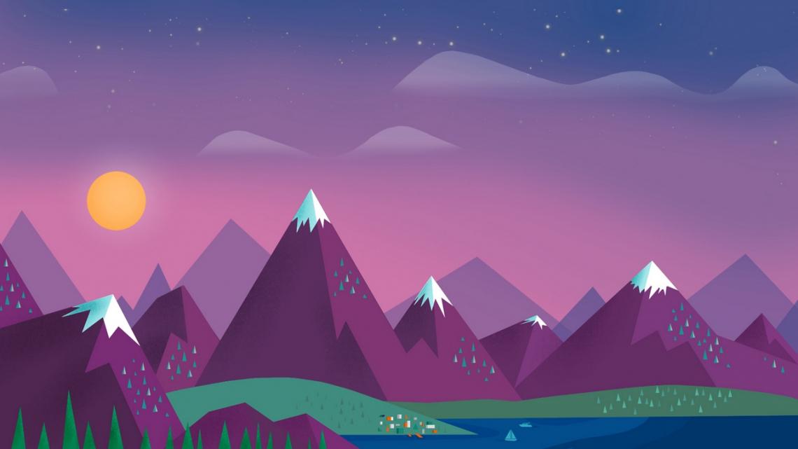 Minimalism, sky, clouds, sun, mountains, lake, landscape